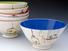 Caged LolliBird Bowls from Lollipop Pottery - LOVE these! by Miki F