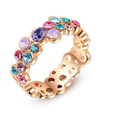 G.R N.E.R.H Fashion Colorful Austrian Crystal Ring white Gold Plated Gift Jewelry for Women Wedding Fine Jewelry