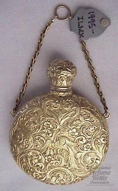 "Gold Scent Specialty:Early Bottles  Material(s):20/22kt gold  Origin:England  Date or Era:C. 1800  Dimensions:2 1/8""  Special Features:pattern on back slightly different than front  Additional Information: acid test does not define between 20 and 22kt"