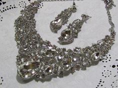 Bridal jewelry set Bridal back drop bib necklace by GlamDuchess