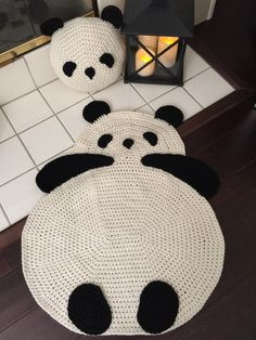 Panda rug crochet panda rug floor rug crochet rug children room rug any room rug wall hanging rug throw rug We adding Crochet Panda rug to our collection and it brings warm smiles and makes charming accent in any room! Crochet Baby Hats, Cute Crochet, Crochet For Kids, Baby Knitting, Crochet Rugs, Crochet Panda, Crochet Animals, Crochet Carpet