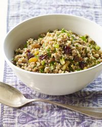 Farro salad with winter fruit, pistachios and ginger. I made this and prefer less ginger. Very filling!
