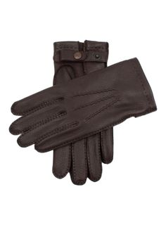 15-1545 Men's handsewn deerskin leather gloves, with 3 handsewn points and Dents stud closure. These gloves are lined in chamois.