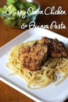 Crispy Onion Chicken and Quinoa Pasta recipe