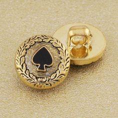 Spade Button. Antique Gold. 15mm / Ligne by JosyroseHaberdashery, £1.25