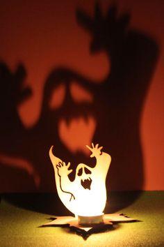 Halloween Tea Light Garden Lantern Wooden Indoor by FeelMyCraft