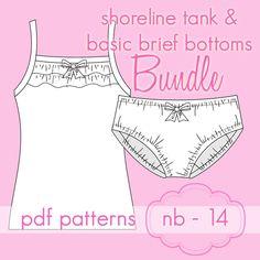 Shoreline Tank & Basic Briefs pattern from Jocole | Tween PDF PatternList