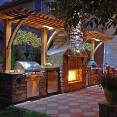 Outdoor Kitchen Ideas - Kitchens: 3 Simple Strategies To Design Outdoor Kitchen Designs Plans Diamond Printed Patio With Wooden Pergola For Chic Outdoor Kitchen Designs Plans Small Outdoor Kitchens, Backyard Kitchen, Outdoor Kitchen Design, Backyard Patio, Outdoor Spaces, Outdoor Living, Small Patio Kitchen Ideas, Outdoor Life, Patio Ideas