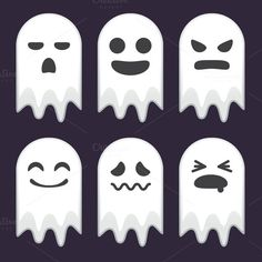 Collection of Cute Ghost Expressions by @Graphicsauthor
