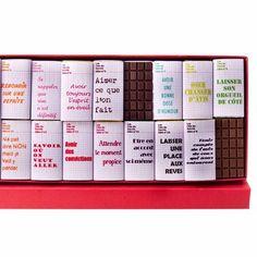 18 petites tablettes / 15,80 € /  71% de cacao pour le noir  31% pour le lait avec des petits messages rigolos inscrits sur le papier d'emballage.   Jadis et Gourmande