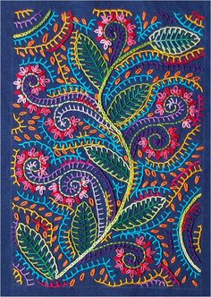 Crewel Embroidery Patterns hand embroidery - Look at all that lovely blanket stitch, my favorite! Crewel Embroidery, Hand Embroidery Patterns, Embroidery Applique, Cross Stitch Embroidery, Machine Embroidery, Embroidery Designs, Floral Embroidery, Indian Embroidery, Japanese Embroidery