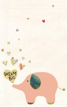 Baby Girl Nursery Art, Nursery Home Decor, Pastel Nursery Print, Elephant, Dream Big, Inspirational Art, art print by Jennifer McCully. , via Etsy.