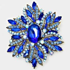 Blue and Gold Rhinestone Brooch