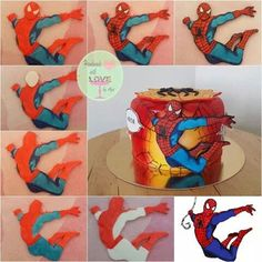 Vintage spiderman comics - cake by Aga Leśniak - CakesDecor Spiderman Cake Topper, Spiderman Theme, Superhero Theme Party, Superhero Birthday Cake, Batman Cakes, Novelty Birthday Cakes, Iron Man Birthday, Boys First Birthday Cake, Fondant Decorations