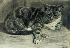 Henriette, Ronner-Knip - 'A Cat' - Charcoal on paper, 1870.
