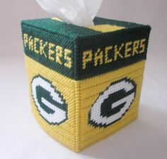 Green Bay Packers tissue box cover in plastic by AuntCC on Zibbet