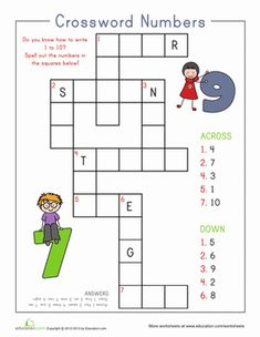 Kindergarten Counting & Numbers Writing Numbers Worksheets: Number Crossword