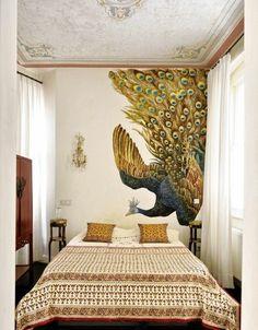 wandfarbe gold extravagante schlafzimmer gestaltung bequemes bett schlafzimmer farben