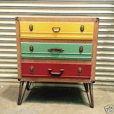 Large Vintage Suitcase Style Chest with Coloured Drawers