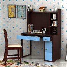 fdc4b9d10 Buy Drizzy Kids Study Table (Mahogany Finish) Online in India - Wooden  Street