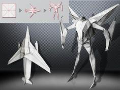 Origami Macross (Transformer) VF-1 Valkyrie http://fr.origami-kids.com/pas-a-pas/origami-macross-transformer-vf-1-valkyrie.htm  Lire le post complet ici: Origami Macross (Transformer) VF-1 Valkyrie  Un Japonais sest inspiré du film Transformers et a décidé den faire un en papier.