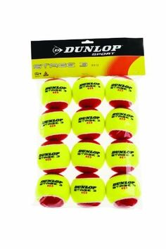 Dunlop Sports Dunlop Stage 3 Red Felt Low Compression 12 Tennis Balls In Polybag by Dunlop. $15.95. Ideal for teaching youngsters the game of tennis, these felt low compression Dunlop Stage 3 balls are designed for 36-foot courts and are recommended for children ages 5-8.