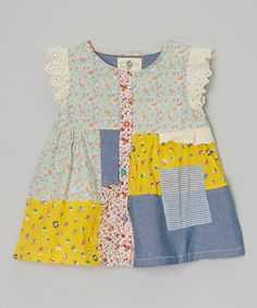 Little Anmy Yellow & Blue Floral Patchwork Dress - Toddler & Girls | zulily