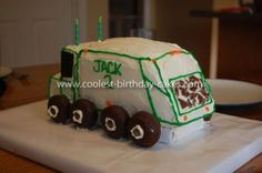 Homemade Garbage Truck Birthday Cake: My son LOVES garbage trucks, so I naturally decided to make a Homemade Garbage Truck Birthday Cake for his 2nd birthday. I really wanted a 3-dimensional