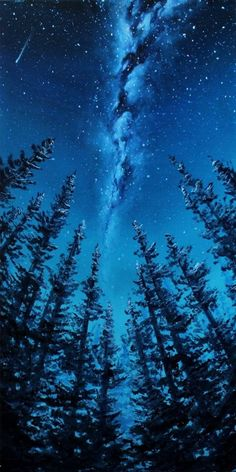 Original Oil Painting - Rift - Milky Way Galaxy Forest Landscape - Canvas Wall Art - Galaxis Forest Landscape, Fantasy Landscape, Winter Landscape, Landscape Art, Landscape Paintings, Oil Paintings, Landscape Wallpaper, Landscape Drawings, Cool Landscapes