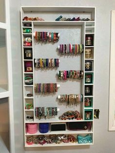 Jewelry Organizer jewelry storage solutions marvellous design bracelet storage ideas more jewelry craft rustic cuff homemade crafts closet Jewelry Storage Solutions, Jewellery Storage, Jewellery Display, Earring Storage, Diy Jewellery, Diy Bracelet Storage, Jewellery Showroom, Necklace Storage, Jewellery Earrings