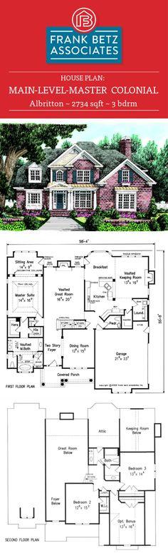 Albritton: 3734 sq ft, 3 bdrm Colonial house plan design by Frank Betz Associates Inc.