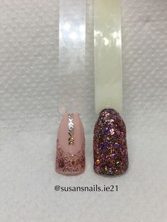 Nail art - French manicure and rose gold glitter