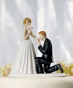 ケーキデザイン163 立膝をついて花嫁にkissケーキトッパー
