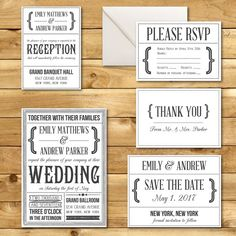 This set of printable wedding stationery designs is classic and beautiful with a vintage texture. Instantly download this digital template and print