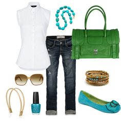so going to do this... won't do green purse but will do green shoes or green caardigan