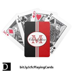 Show your colors with this deck of playing cards which features classic black, white, and red vertical stripes topped with an oval containing a customizable name and initial. https://www.zazzle.com/black_and_red_stripes_monogram_bicycle_playing_cards-256749671915697371?rf=238083504576446517&tc=20170713_pint_SSOZ #StudioDalio monogram toys games