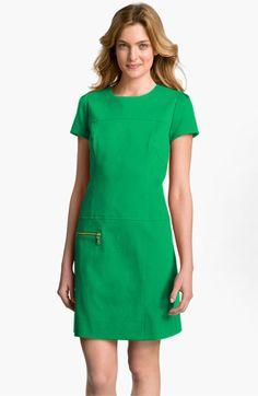 Green Zip Shift Dress