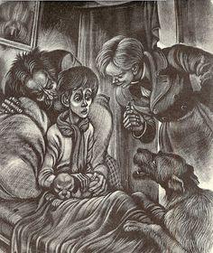 Brothers Karamazov illustration - Kolya Krasotkin returns Perezvon the dog to Ilyusha