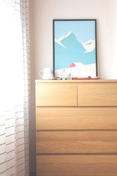 "Design Sponge/ Ikea drawer (Malm series), vintage Stratford on Avon pottery, and HeyStudio ""Winter"" poster."