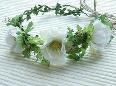 Flower Crown Flower Girl Crown White Crown Greenery