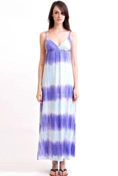 Sexy Style Slim V-neck Gallus Gradient Color Bohemian Dress