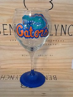 Hand Painted Florida Gators Wine Glass by brandiedmonds on Etsy, $20.00