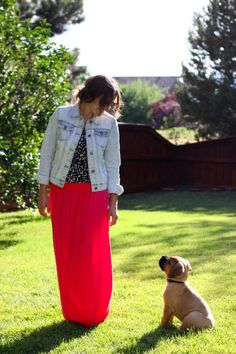 denim jacket with a maxi skirt outfit