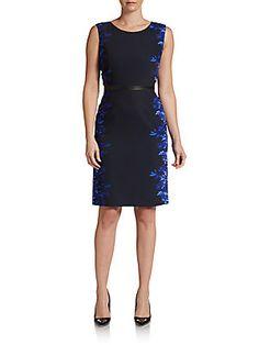 86fee15e3456 Blue Navy Print Multcolor Beverly Printed Silk Sheath Dress by Elie Tahari  @ Saks Off 5th
