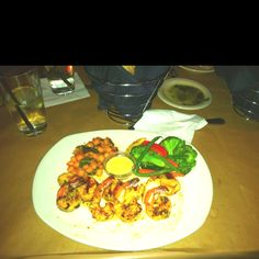 Grilled shrimp and scallops with vegetable medley