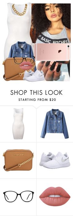 """""""Going to my bestie graduation today ✨"""" by saucinonyou999 ❤ liked on Polyvore featuring American Vintage, Michael Kors, NIKE, GlassesUSA and Lime Crime"""