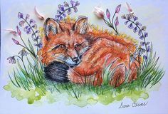 Art by Sara Olivas  https://www.instagram.com/sara.soleill  Fairy floral fox watercolor painting with real pressed flowers