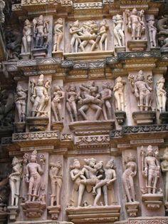 Khajuraho Temple, Madhya Pradesh, India. Known for its erotic sculptures & carvings.