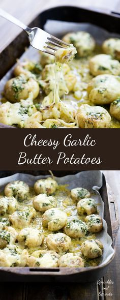 Cheesy Garlic Butter Potatoes. Soft fluffy potatoes with a light crunch, rich with garlic butter and then coated generously in melted oozy cheese. | Sprinkles and Sprouts