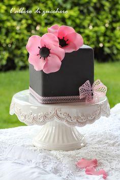 Black, Pink Flowers Cake
